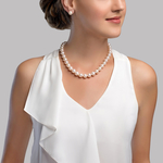 11-12mm White Freshwater Pearl Necklace- AAAA Quality - Model Image