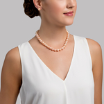 10-11mm Peach Freshwater Pearl Necklace - AAAA Quality - Model Image