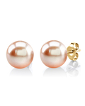 10mm Peach Freshwater Pearl Stud Earrings - Model Image