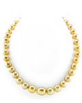 10-13mm Oval-Shaped Golden South Sea Pearl Necklace - AA+ Quality