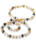 11-13mm Opera Length South Sea Multicolor Oval Pearl Necklace -  AAAA Quality - Model Image