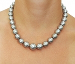 11-13mm Silver Tahitian South Sea Pearl Necklace - AAA Quality - Model Image