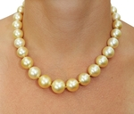 12-15.5mm Golden South Sea Pearl Necklace - AAA Quality - Secondary Image