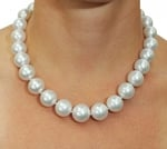 15-16mm White South Sea Pearl Necklace - AAA Quality - Model Image