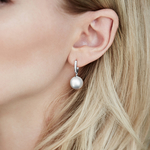 South Sea Pearl & Diamond Aurora Leverback Earrrings - Model Image