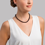 6.5-7.0mm Japanese Akoya Black Pearl Necklace- AAA Quality - Secondary Image