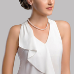 7.0-7.5mm Japanese Akoya White Choker Length Pearl Necklace- AAA Quality - Secondary Image