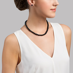 7.0-7.5mm Japanese Akoya Black Pearl Necklace- AA+ Quality - Model Image