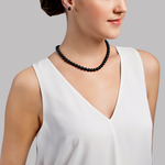 7.5-8.0mm Japanese Akoya Black Pearl Necklace- AAA Quality - Secondary Image