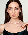7.5-8.0mm Japanese White Akoya Pearl Necklace & Earrings - Model Image
