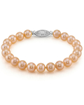 7-8mm Peach Freshwater Pearl Bracelet - AAA Quality