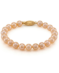 7-8mm Peach Freshwater Pearl Bracelet - AAA Quality - Secondary Image