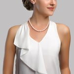 7.5-8.0mm Japanese Akoya White Choker Length Pearl Necklace- AAA Quality - Secondary Image