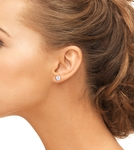 7mm Pink Freshwater Pearl Stud Earrings - Model Image