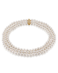 Hanadama Akoya White Pearl Triple Strand Necklace - Model Image