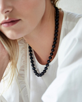 8.0-8.5mm Japanese Akoya Black Pearl Necklace- AAA Quality - Model Image