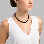 8.5-9.0mm Japanese Akoya Black Pearl Necklace - AA+ Quality - Secondary Image