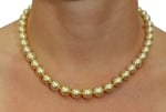 8-10mm Golden South Sea Pearl Necklace - Model Image