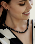 8.5-9.0mm Japanese Akoya Black Pearl Necklace - AA+ Quality - Model Image