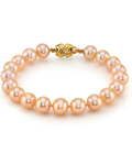 9-10mm Peach Freshwater Pearl Bracelet - AAA Quality - Secondary Image