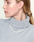 8-9mm Freshwater Pearl Necklace & Earrings - Model Image