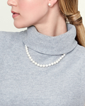 8-9mm White Freshwater Pearl Necklace - AAA Quality - Model Image