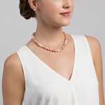 10-11mm Multicolor Freshwater Pearl Necklace - Model Image