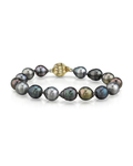 9-10mm Tahitian South Sea Multicolor Baroque Pearl Bracelet - Model Image