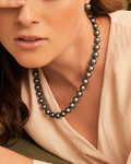 9-11mm Silver Tahitian South Sea Pearl Necklace - AAAA Quality - Model Image