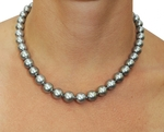 9-11mm Silver Tahitian South Sea Pearl Necklace - AAAA Quality - Secondary Image