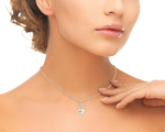Akoya Pearl Dangling Diamond Pendant- Choose Your Pearl Color - Secondary Image