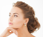 Golden Pearl & Diamond Eva Earrings - Model Image
