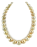 12-15.5mm Golden South Sea Pearl Necklace - AAA Quality