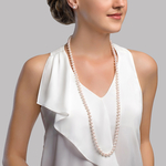 7.5-8.0mm Opera Length Japanese Akoya Pearl Necklace - Third Image