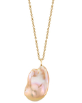 15mm Pink Freshwater Baroque Pearl Solitaire Pendant - Model Image