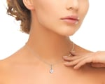 Pink Freshwater Pearl Dangling Diamond Pendant - Secondary Image