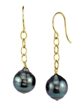 Tahitian South Sea Baroque Pearl Dangling Tincup Earrings - Third Image