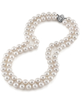 9.0-9.5mm Hanadama Akoya White Pearl Double Strand Necklace