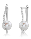 Freshwater Pearl & Diamond Eliza Earrings
