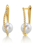 Freshwater Pearl & Diamond Eliza Earrings - Third Image