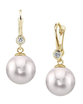 Akoya Pearl & Diamond Michelle Earrings- Choose Your Pearl Color - Secondary Image