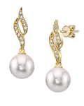 Akoya Pearl & Diamond Suzanna Earrings-Choose Your Pearl Color - Third Image
