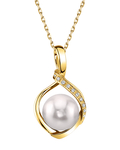 Akoya Pearl & Diamond Alexis Pendant- Choose Your Pearl Color - Model Image