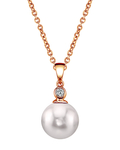 Akoya Pearl & Diamond Michelle Pendant- Choose Your Pearl Color - Third Image