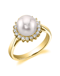 Akoya Pearl & Diamond Solar Ring - Model Image