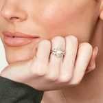 Akoya Pearl & Diamond Crown Jewel Ring - Model Image