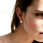 9.0-9.5mm White Akoya Pearl Stud Earrings - Model Image