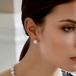 9mm South Sea Pearl Stud Earrings- Choose Your Quality - Model Image