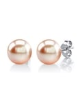 8mm Peach Freshwater Pearl Stud Earrings