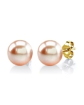 8mm Peach Freshwater Pearl Stud Earrings - Third Image